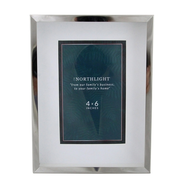"8"" Contemporary Rectangular 4"" x 6"" Photo Picture Frame - Silver and Clear - 4-inchx6-inch"