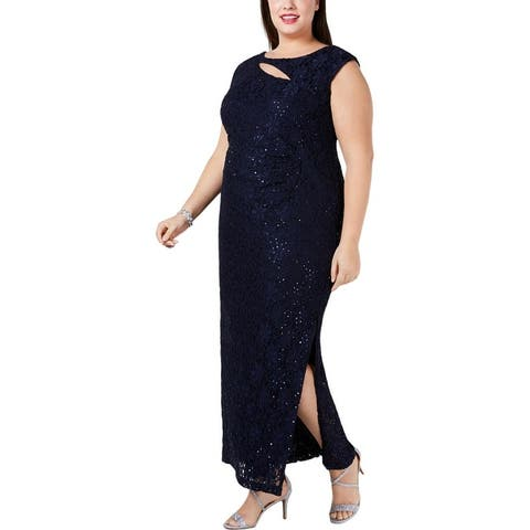 Connected Apparel Womens Plus Evening Dress Glitter Lace