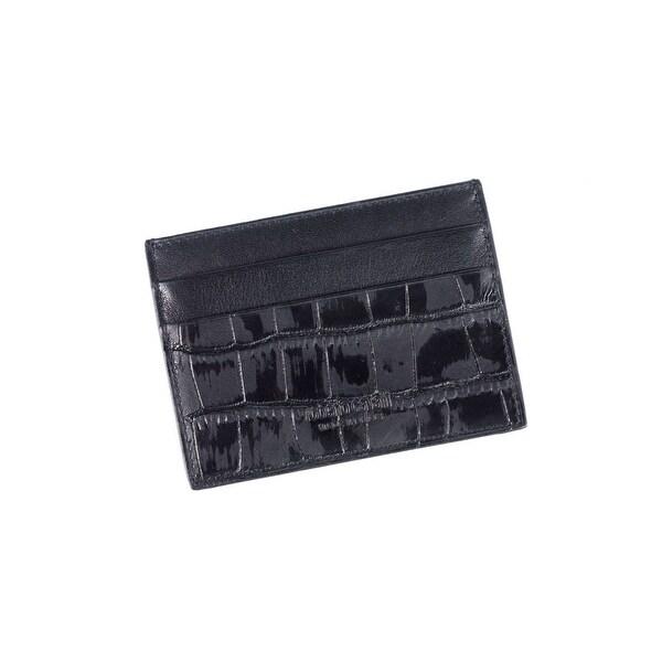 Roberto Cavalli Men's Croc-Embossed Black Leather Cardholder wallet - M
