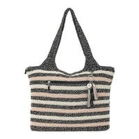 THE SAK Women's Casual Classics Large Tote Salt and Pepper Stripe Crochet - US Women's One Size (Size None)
