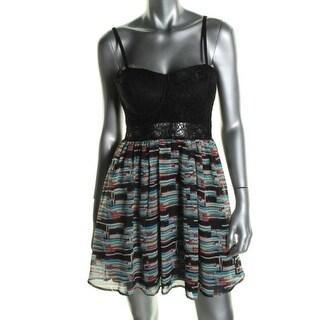 Material Girl Womens Juniors Casual Dress Lace Trim Corset Seamed - XS