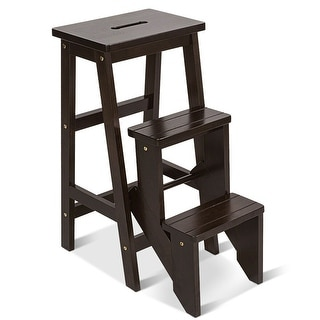 Costway 3 Tier Step Stool 3 in 1 Folding Ladder Bench Storage Shelf Multi-function Coffe - as pic