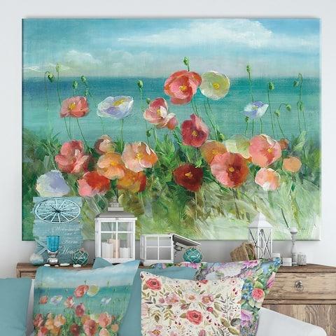 Designart 'RW Coastal Poppies' Cottage Canvas Wall Art