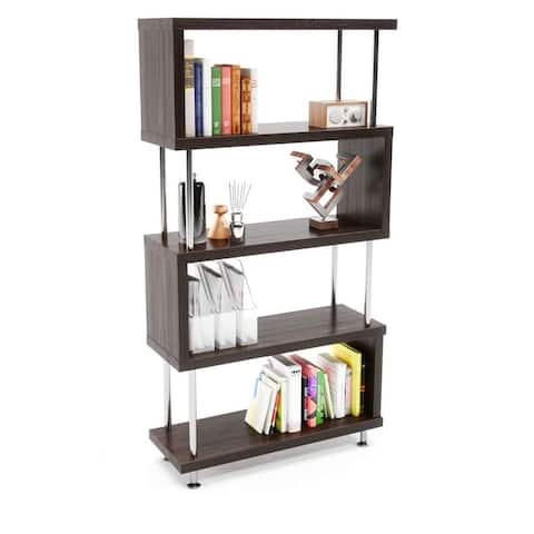 "S-Shaped 5 Shelf Bookcase, Wooden Z Shaped 5-Tier Vintage Bookshelf - 7'9"" x 9'9"""