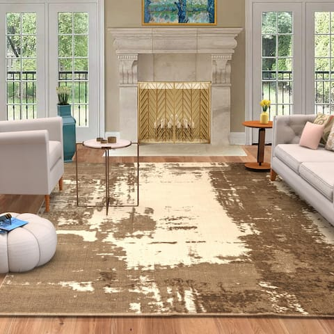 Cazza Mantoni Abstract Modern Ombre Distressed Area Rug
