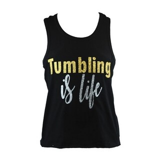 """Reflectionz Little Girls Black Gold Silver """"Tumbling Is Life"""" Tank Top"""