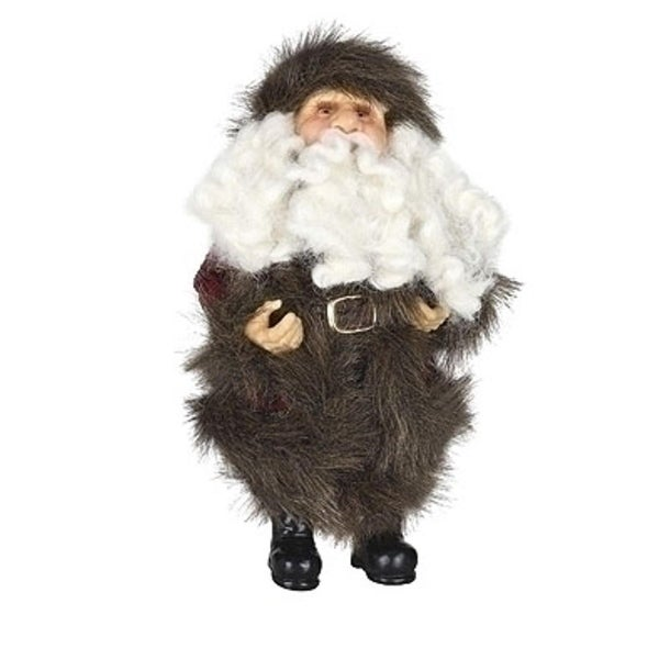 "10"" Old World Father Christmas Woodland Santa Claus in Burgundy Faux Fur Suit Figure - multi"