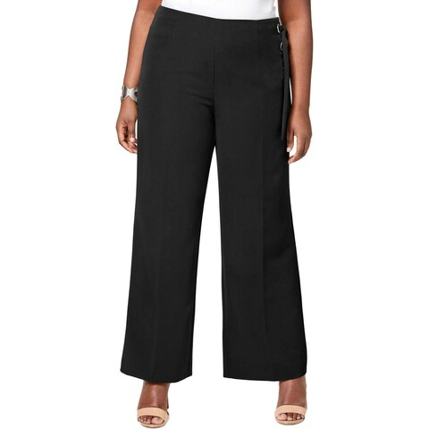 NY Collection Black Women's 1X Plus Lace Up Dress Pants Stretch