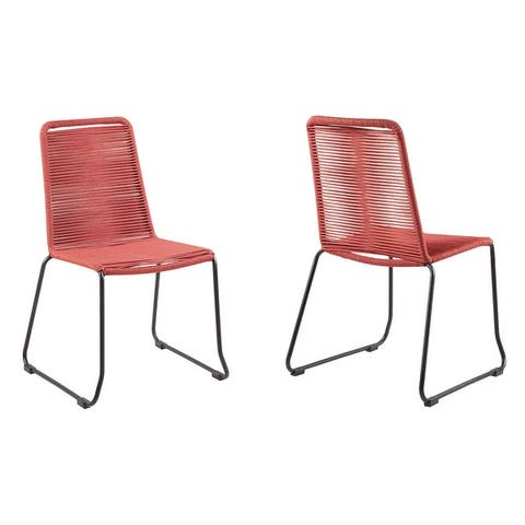 Shasta Outdoor Metal and Rope Stackable Dining Chair - Set of 2