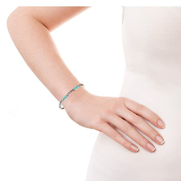 Greek style silver 925 bracelet with turquoise handmade jewellry