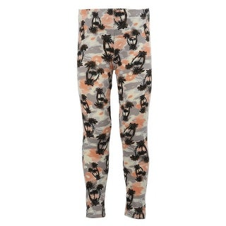 Kids Stretchy Leggings Bottom Trousers grey orange tree