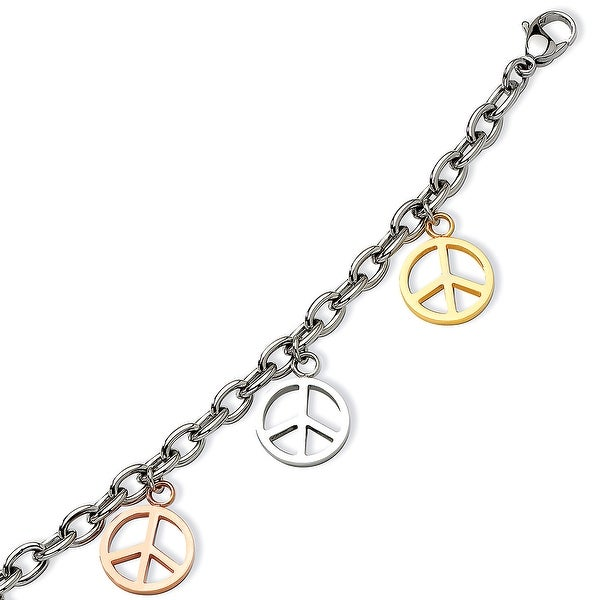 Chisel Stainless Steel Multicolor Peace Signs Charm Adjustable Bracelet