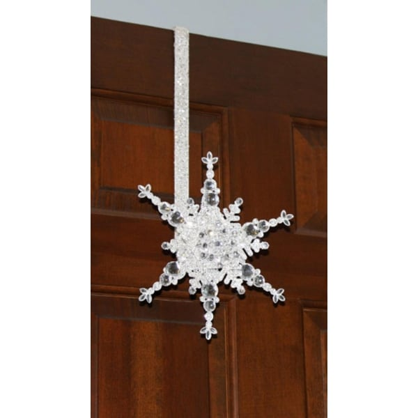 "17"" Sparkling Whites Glitter Jeweled Snowflake Over-the-Door Christmas Wreath Hanger"