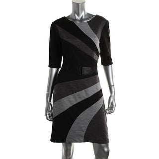 Connected Apparel Womens Colorblock Elbow Sleeves Wear to Work Dress - 16