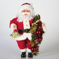 "20"" Traditional Standing Santa Claus with Bells and Swag Christmas Figure - Red"