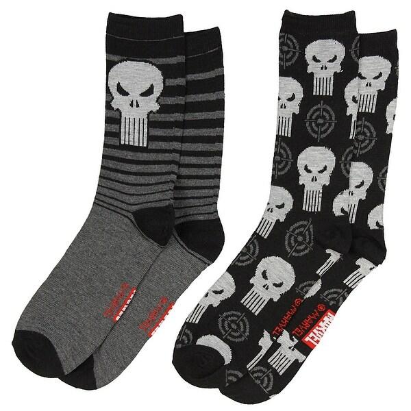 Marvel The Punisher Men's 2 Pack Casual Crew Socks
