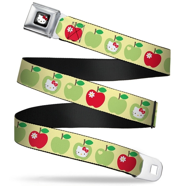 Hello Kitty W Red Bow Full Color Black Hello Kitty Apples Yellow Green Red Seatbelt Belt
