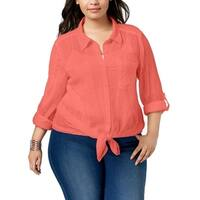 Style & Co. Pink Women's Size 2X Plus Textured Button Up Shirt