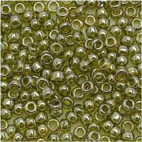 Toho Round Seed Beads 8/0 457 'Gold Lustered Green Tea' 8 Gram Tube