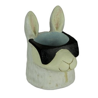Black and White Cool Llama Wearing Sunglasses Planter Statue - 7.5 X 6 X 5 inches