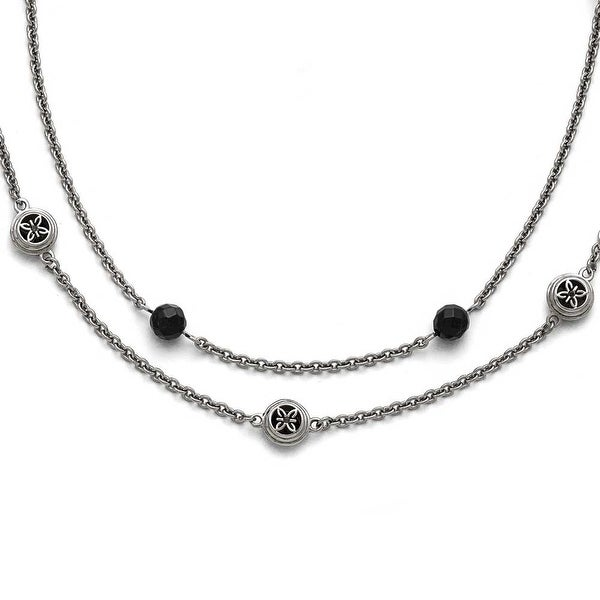Chisel Stainless Steel Polished Black Onyx with 2in ext. Layered Necklace - 23.75 in