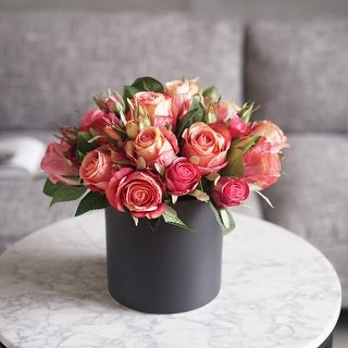 "Madmoiselle Silk Red Roses in Black Vase 13"" Tall - Orange"
