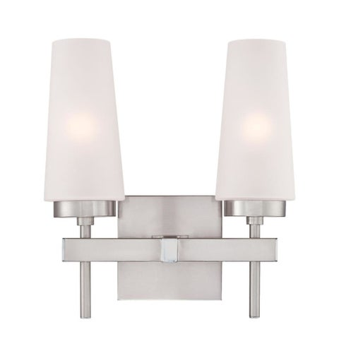 "Westinghouse 6353300 Chaddsford 2 Light 12"" Wide Bathroom Vanity Light with Hand - Brushed nickel"