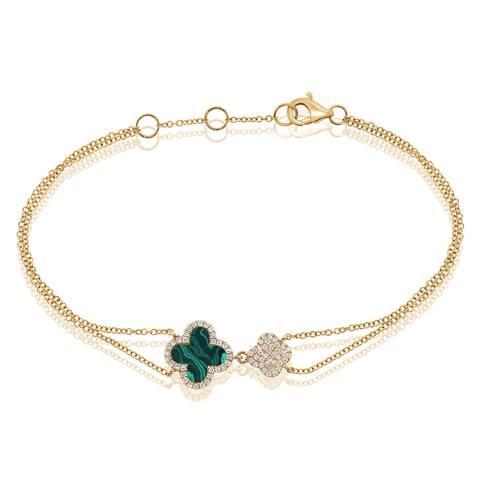 Flower Bracelet Malachite & Diamond 14K Yellow Gold by Joelle Collection