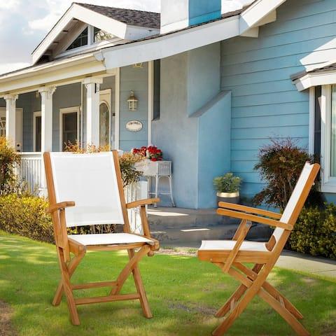 Chic Teak Miami Teak Wood Folding Outdoor Arm Chair (set of 2)