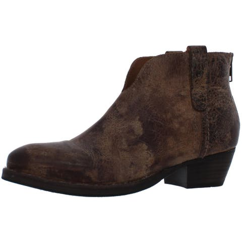 Diba True Womens Pay Able Ankle Boots Leather Zipper Closure - Tan/Distressed - 7 Medium (B,M)