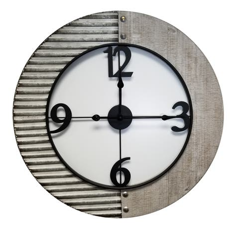 "Brewster X83333L Habitat 29-1/2"" Willie Wood Analog Wall Mounted Clock - Metallic"