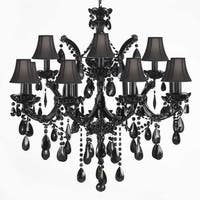 Jet Black Crystal Chandelier Lighting With Black Shades