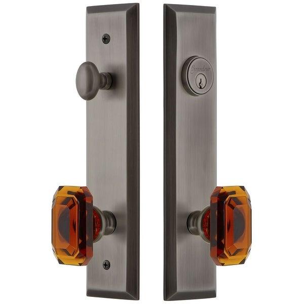 Grandeur FAVBCA_TP_ESET_234 Fifth Avenue Solid Brass Tall Plate Single Cylinder Keyed Entry Set with Baguette Amber Crystal
