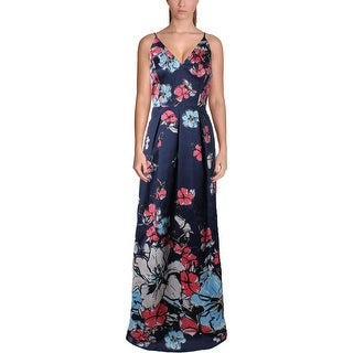 Phoebe Womens Maxi Dress Pleated Floral Print
