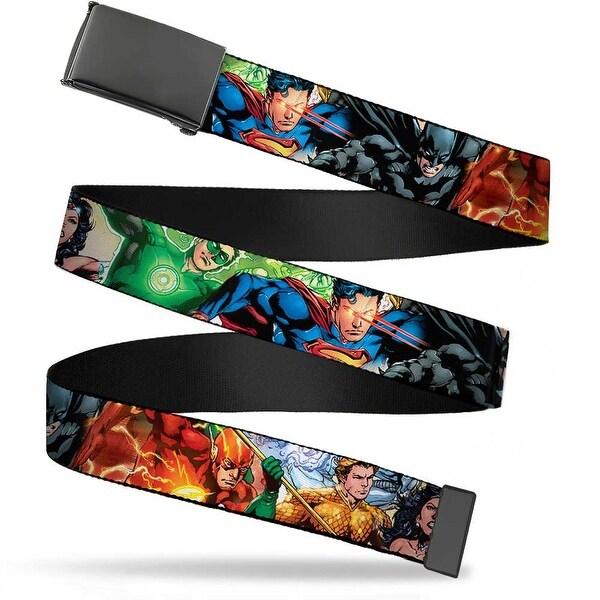 Blank Black Buckle Justice League New 52 Superhero Action Poses Web Belt