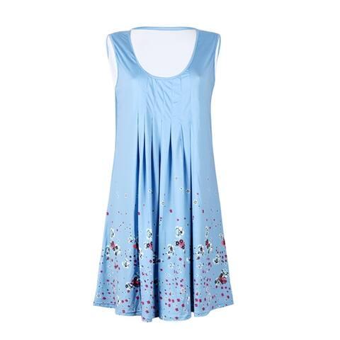 Flower Print Sleeveless Women Loose Summer Beach Evening Party Boho Mini Dress