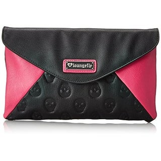 Loungefly Womens Skull Faux Leather Colorblock Clutch Handbag - Black/Pink - Medium