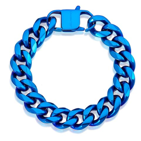 "Men's Stainless Steel 14mm Curb Chain Bracelet 8.5"""