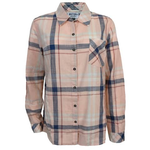 Victory Outfitters Ladies' Plaid Long Sleeve Button Up Shirt w/ Single Chest Pocket