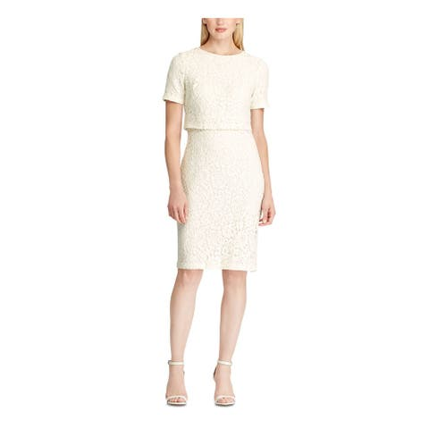 RALPH LAUREN Ivory Short Sleeve Knee Length Dress 6