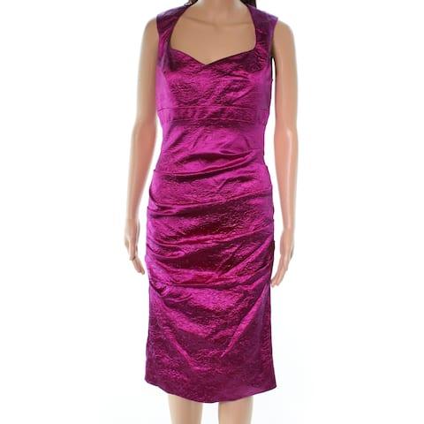Nicole Miller Pleated Pintuck Women Metallic Sheath Dress