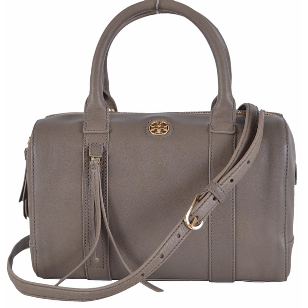 Tory Burch Brody Small Porcini Grey Leather Satchel Purse Handbag. Opens flyout.
