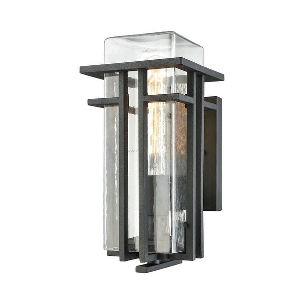 Geometric Style - One Light Outdoor Wall Mount with Clear Blown Glass Shade and Bold-Clean Styling. Opens flyout.