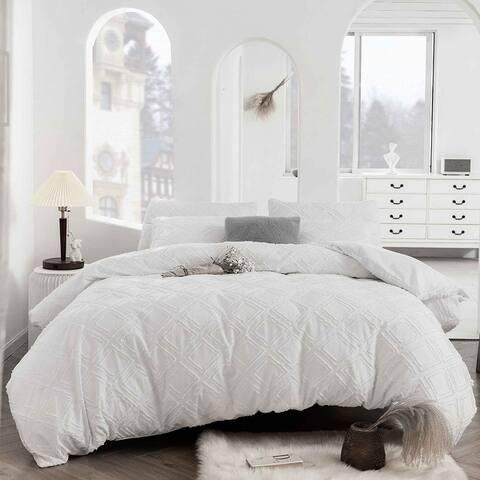 Clipped Jacquard Geometric Duvet Cover & Pillowcase Set