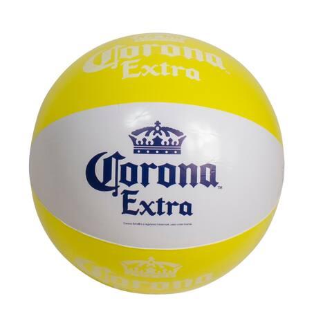 "20"" Corona Tropical Yellow and White Inflatable Beach Ball"