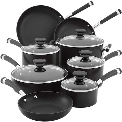 Circulon Acclaim Hard Anodized Nonstick Cookware Pots and Pans Set, 13 Piece, Black