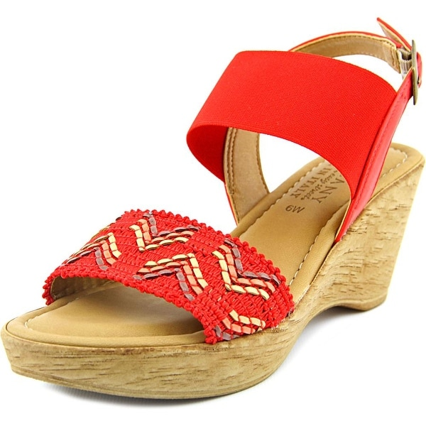Easy Street Sanremo Women W Open Toe Canvas  Wedge Sandal