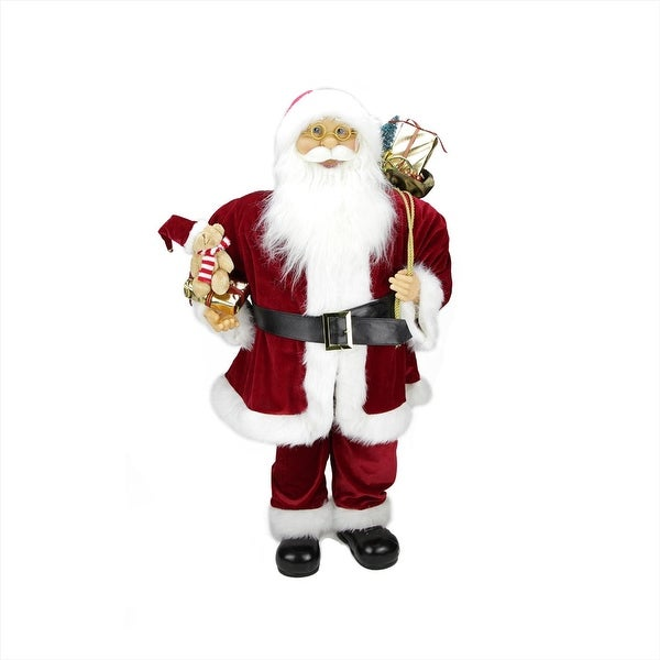 "36"" Traditional Standing Santa Claus Christmas Figure with Teddy Bear and Gift Bag - RED"