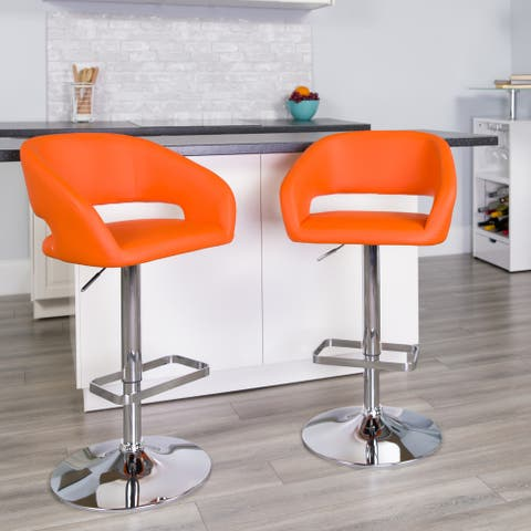 Vinyl Adjustable Height Barstool with Rounded Mid-Back