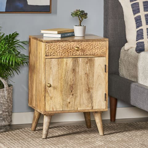 Lytle Boho Handcrafted Mango Wood Nightstand with Storage by Christopher Knight Home